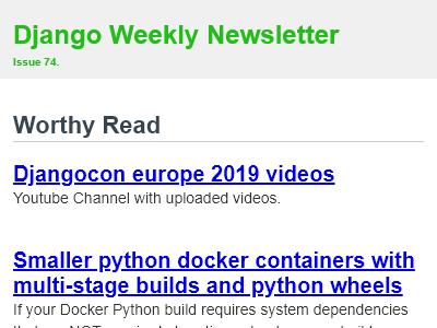 Django Weekly - #74: Djangocon europe 2019 videos, Multi